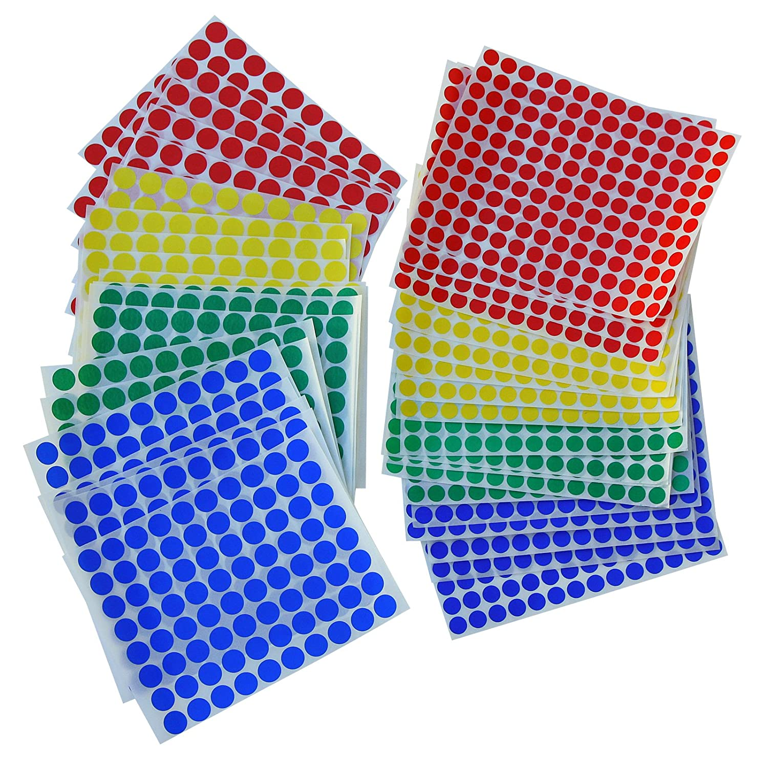 Assorted Multicolor Labels 2 Sizes 3//8 Inch 1//2 Inch Round Dot Sticker 5850 Pack