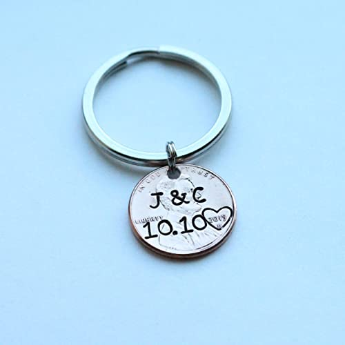 Amazon com: Personalized Hand Stamped Penny Keychain with
