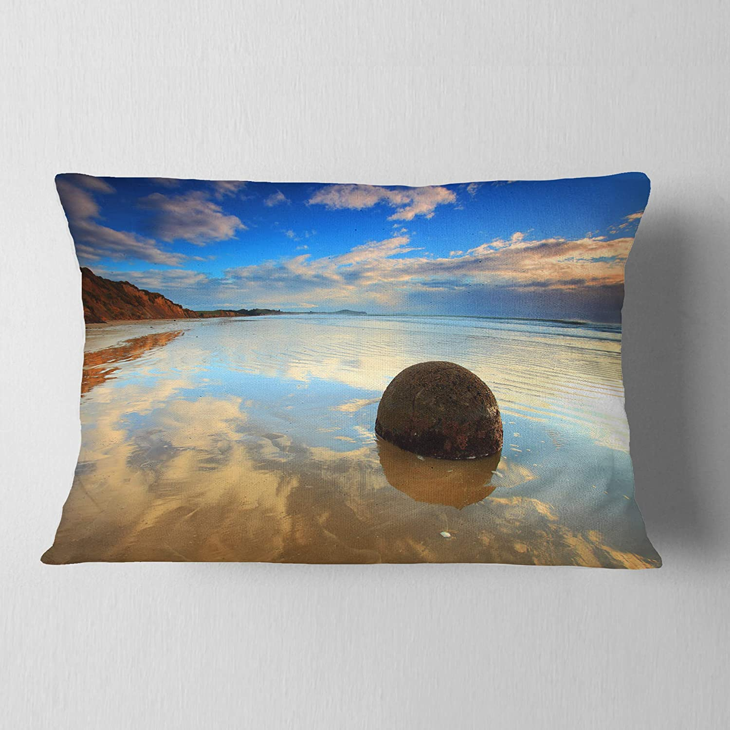 x 20 in Designart CU9463-12-20 Sunrise at Moeraki Boulders Seashore Photo Lumbar Cushion Cover for Living Room 12 in Insert Printed On Both Side Sofa Throw Pillow
