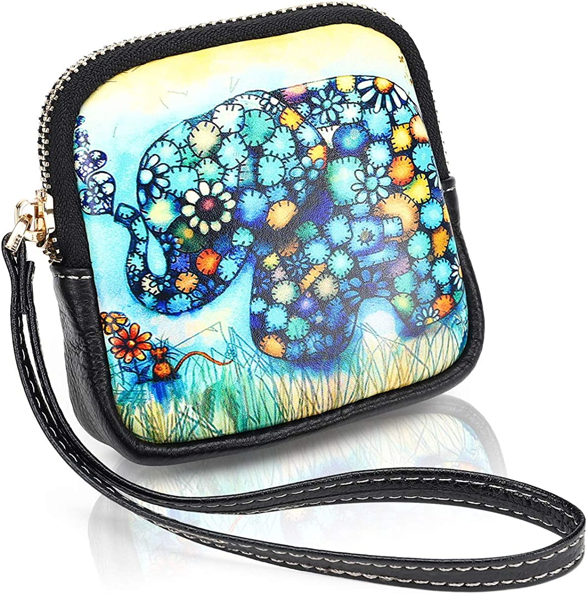 APHISON Coin purse for Women microfiber leather change wallet Portable Cartoon and print styles wrist strap pouch