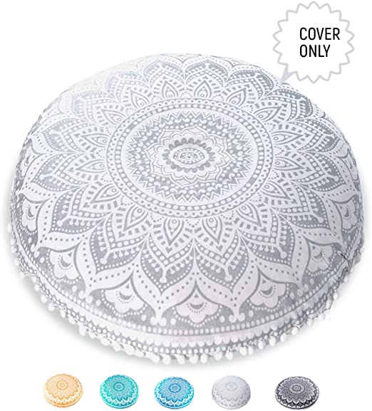 Mandala Life ART Yoga Decor Floor Cushion Cover - Round Medition Pillow Case - Hand Printed Organic Cotton Pouf