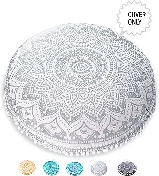 Mandala Life ART Yoga Decor Floor Cushion Cover - Round Medition Pillow Case - Hand Printed Organic Cotton Pouf