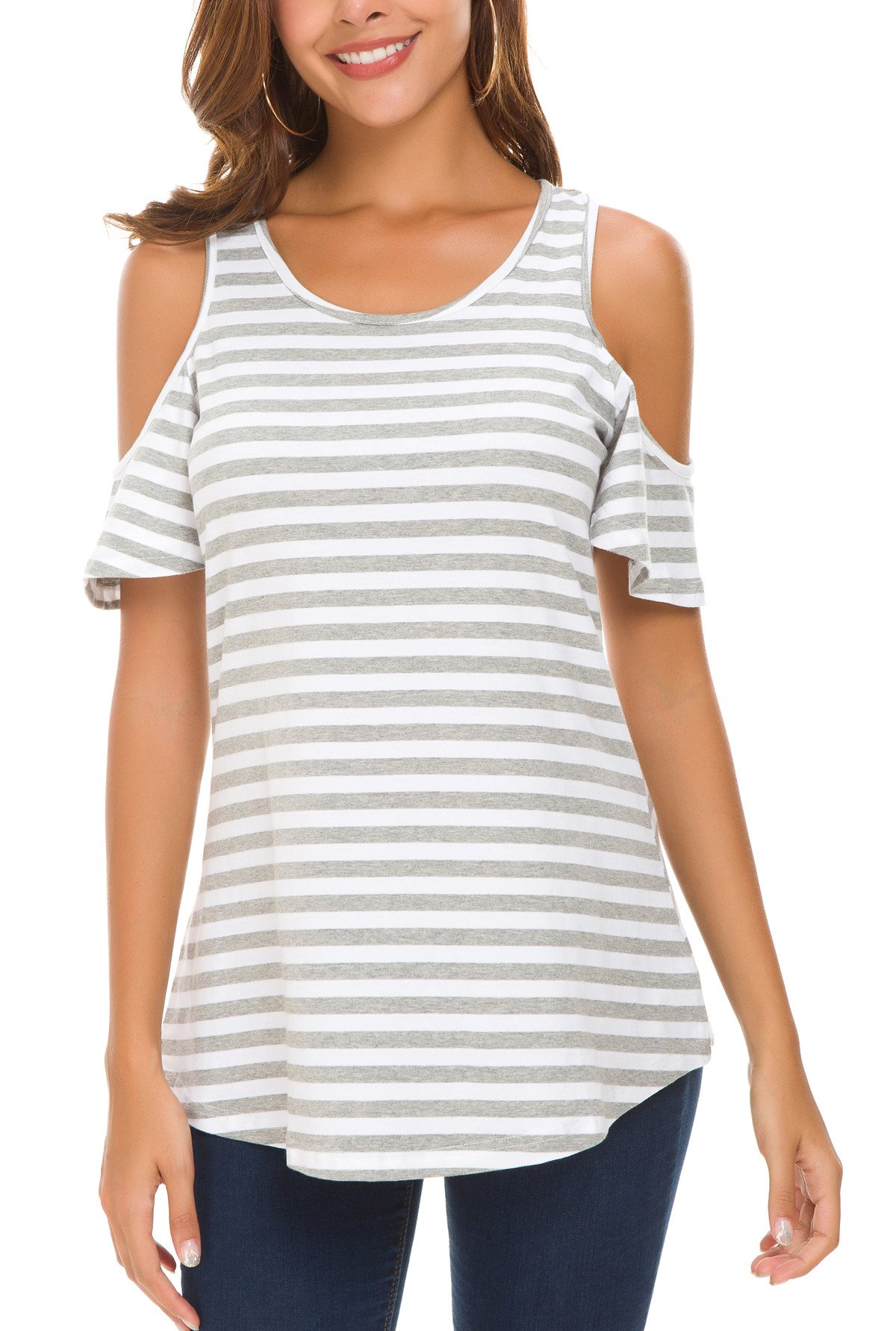HBEYYTO Women Summer Short Sleeve Cold Shoulder Striped Shirt Tops Blouses Gray Large