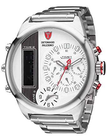 Amazon.com: DETOMASO Mens PALERMO XXL Triple-Time Chronograph Trend silber/silber Quartz Stainless Steel Casual Watch, Color:Silver-Toned (Model: ...