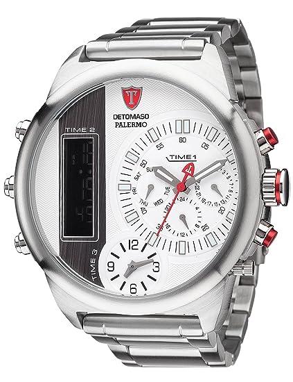 Detomaso Palermo XXL - Reloj de cuarzo para hombres, con correa de acero inoxidable de color plateado, esfera blanca: Amazon.es: Relojes
