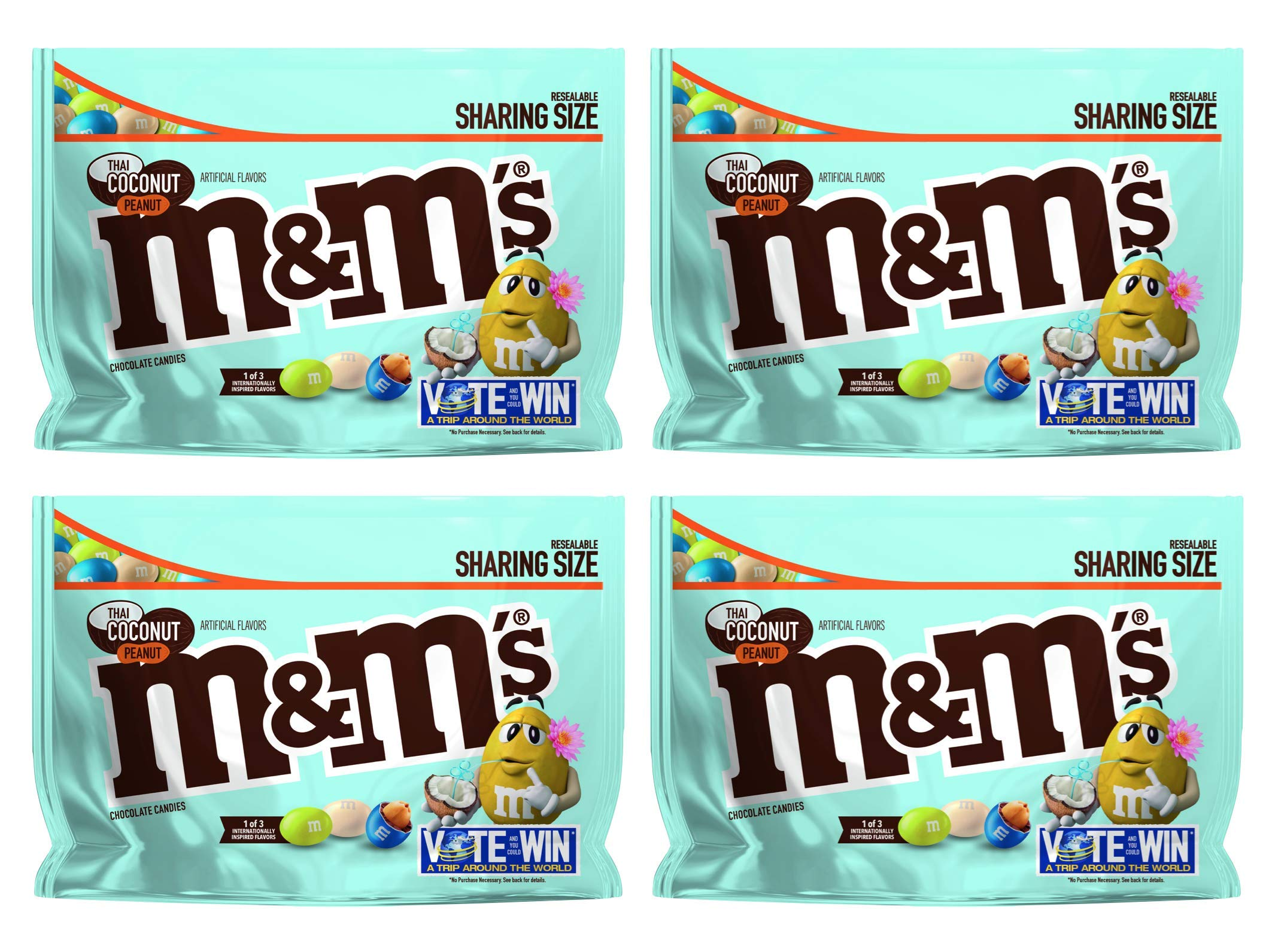 M&M's (Pack of 4) Chocolate Candy Flavor Vote Thai Coconut Peanut Sharing Size, 9.6 Ounce Bag