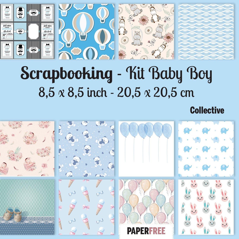 Download Scrapbooking Kit Baby Boy 8,5 x 8,5 inch - 20,5 x 20,5 cm PDF