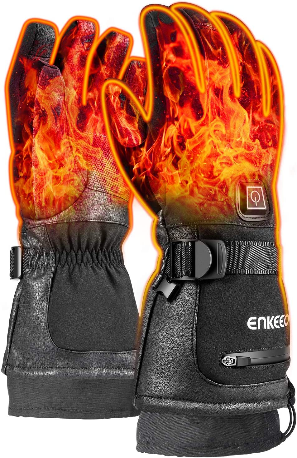 3 Levels Temperature Control ENKEEO Heated Gloves with 7.4V 2200MAH Quick Rechargeable Battery Pack Touch Screen for Men Women Winter Outdoor Cycling Skiing Skating Hiking Windproof /& Windproof