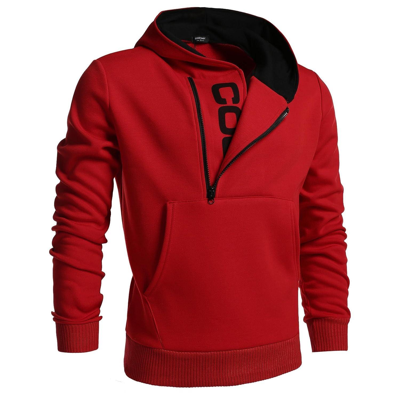Rouge XX-grand Modfine Sweat-shirt à Capuche Homme Manteau chaud encapuchonné Slim masculine Outwear