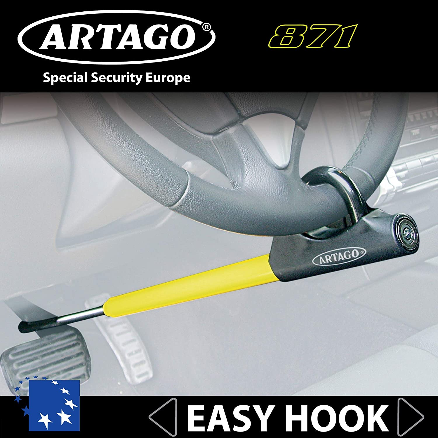 Easy Hook System Optimum Size to Carry Universal Car SUV Artago 871A//B Premium Steering Wheel Pedal Lock