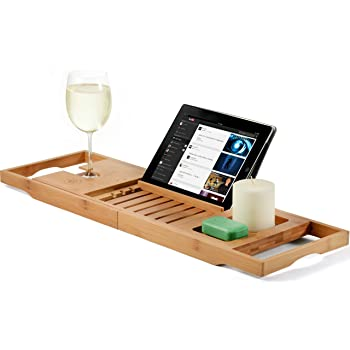 Amazon.com: Bamboo Bathtub Caddy Tray Wooden Bath Tray with ...