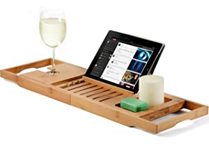 Bamboo Bathtub Caddy Tray, Wooden Bath Tray with Extending Sides, Reading Rack, Tablet Holder, Cellphone Tray, Wine Glass Slot - Great Gift Idea
