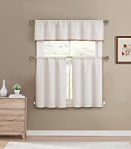 Blackout365 Koti Home Maison 3 Piece Kitchen Curtain Set 58 in. W x 15 in. L in Linen-Wheat, 58x15 (1 Piece) 29x36 (2 Pieces)