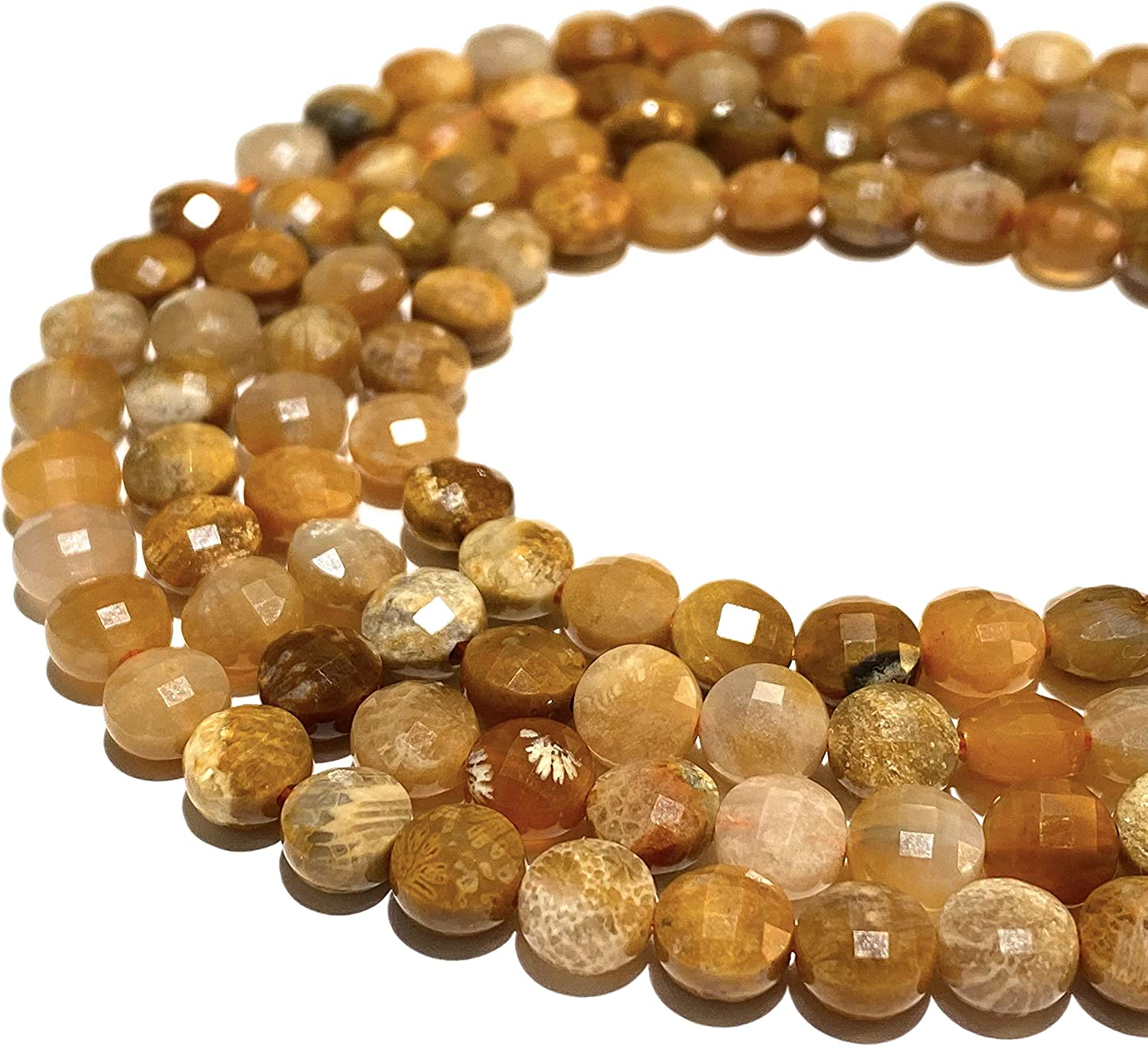 [ABCgems] Indonesian Honey Fossil Coral (Exquisite Matrix) Tiny 6mm Micro-Faceted Diamond-Cut Checkerboard Coin Beads (A Revolutionary Cutting Process- More Surface to Reflect Light)