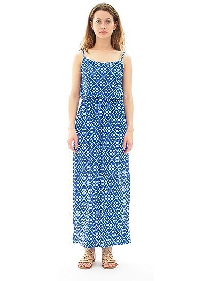 e812c33ae817 Avanti Bottega Women's Spaghetti Strap Maxi Dress L Blue Aztec at Amazon  Women's Clothing store: