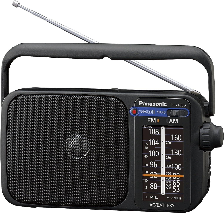 Panasonic RF-2400DEG-K - Radio Portátil FM/Am, (770mW, Iluminación LED, FM/Am, Fácil y Simple de Usar, Sintonizador Digital, Altavoz Amplio Rango 10 cm, Asa para Transportar) Color Negro