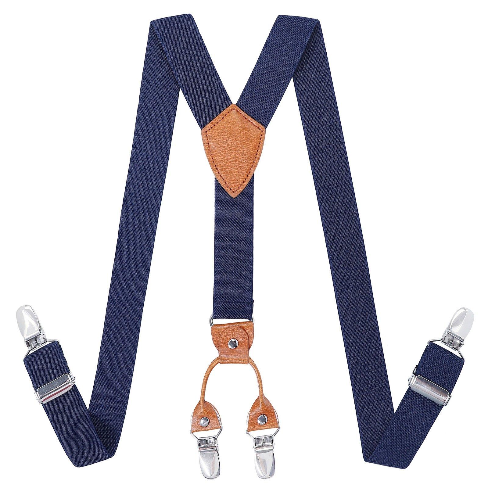 Kajeer Toddlers Boys Mens Adjustable Suspenders - Y Back Heavy Duty Suspenders for School Uniforms Tuxedos (43.3 Inch (5 Feet Tall - 9 Feet Tall), Navy blue)