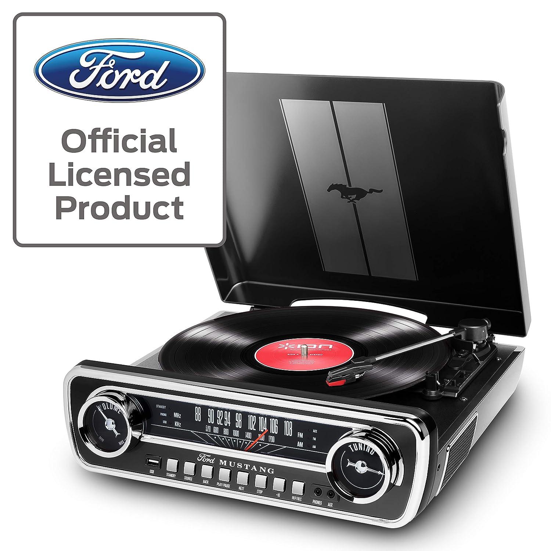 ION Audio Mustang LP - Centro de Música 4-en-1 con Diseño de Radio de Coche Clásico, con Giradiscos, Radio, USB y Entradas Auxiliares