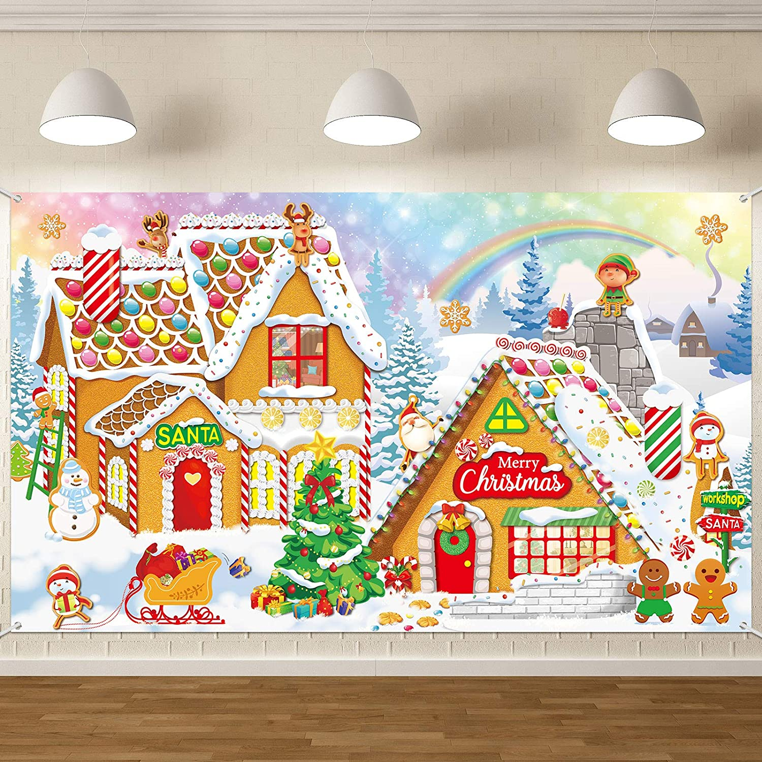 Christmas Gingerbread Photo Backdrop Decoration Sweet Merry Christmas Gingerbread House Banner Santa Candy Background for Christmas Baby Shower Birthday Wall Decorations in 72.8 x 43.3 Inch