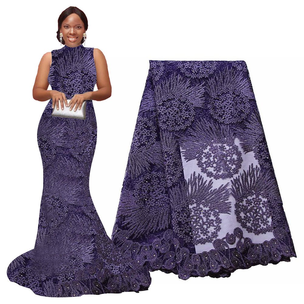 5 Yards, Purple pqdaysun 5 Yards African Lace Fabrics Nigerian French Lace Fabric F50614