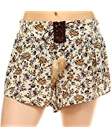 Fashionazzle Women's Casual Summer Beach Shorts Solid and Print