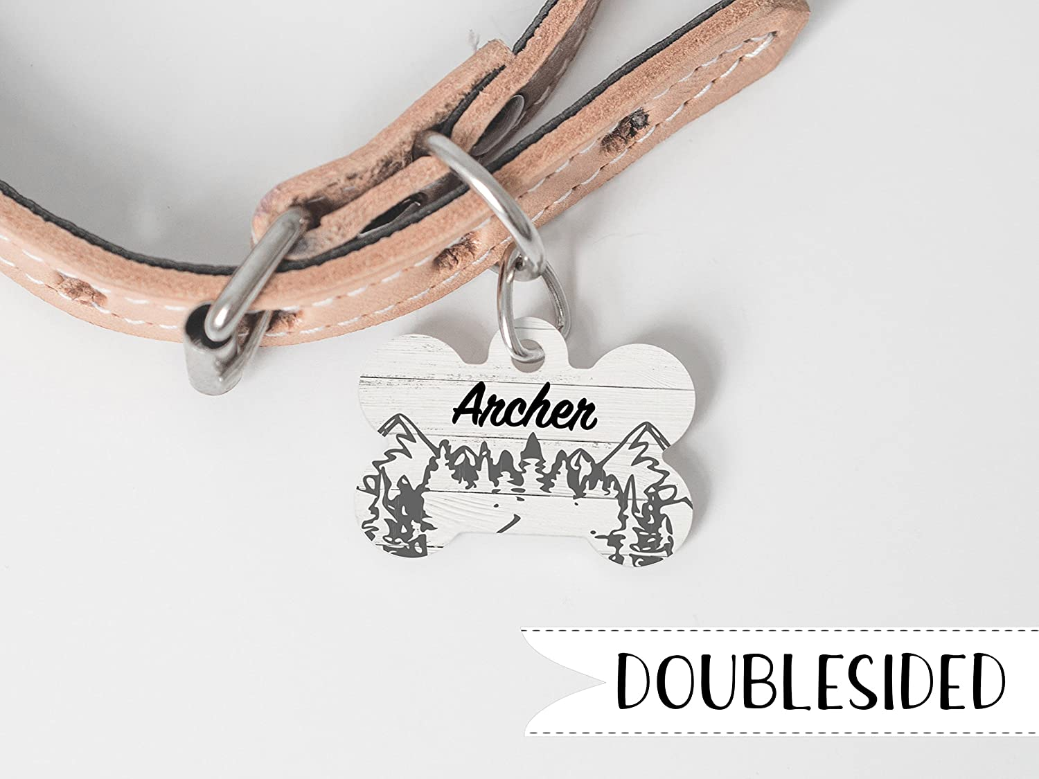 Rustic Mountain Dog Tag