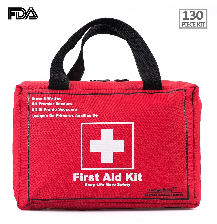 Songwin Botiquín de Primeros Auxilios de 130 artículos,Survival Tools Mini Box -Impermeable Bolsa Médica para el Coche,Hogar,Camping,Caza,Viajes,Aire Libre ...