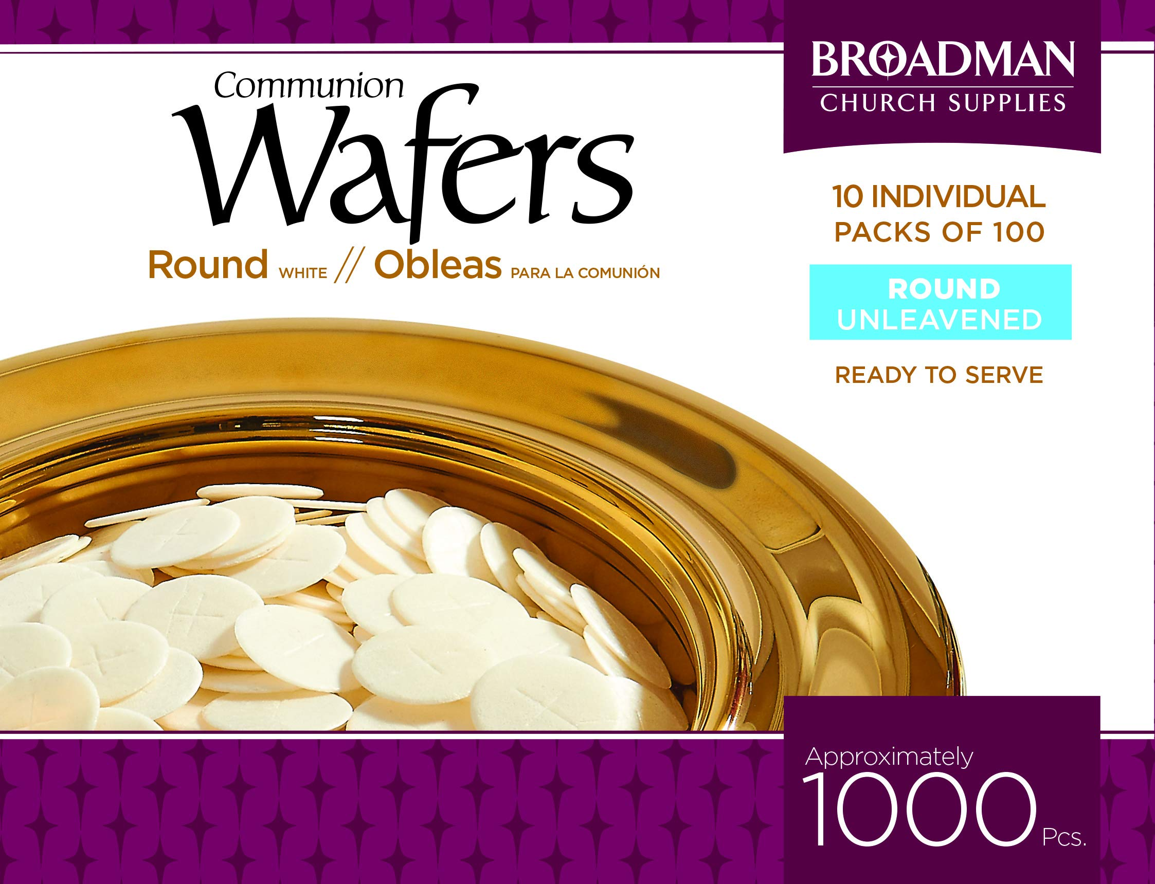 Broadman Church Communion White Wafers - Cross Design (1 - 1/8'') - Box of 1000 (10 Individual Packs of 100 Lord's Supper Wafers) by B&H Publishing Group