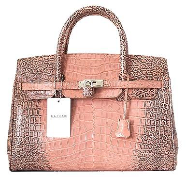 1e028f2862bc Authentic Elfano Crocodile Skin Womens Hobo Bag Purse Locked Glossy Belly Leather  Handbag (Glossy Beige