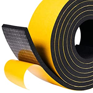 fowong Foam Weather Stripping Tape, 2'' W X 1/4'' T Window Insulation Soundproofing Adhesive Foam Tape Foam Seal Strip Closed Cell Foam Tape (2 Rolls Each 6.5ft with Total 13 Ft)