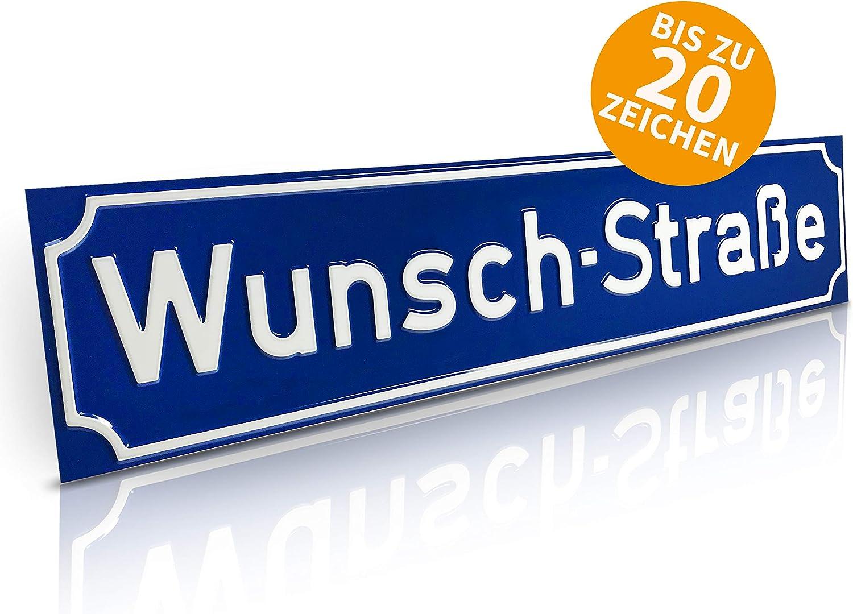 Betriebsausstattung24 Stra/ßenschild mit Wunschtext Hausnummer gepr/ägtes Aluminiumschild mit Antiqua-Rand Wegschild o 60,0 x 13,0 cm, Wei/ß mit schwarzer Schrift