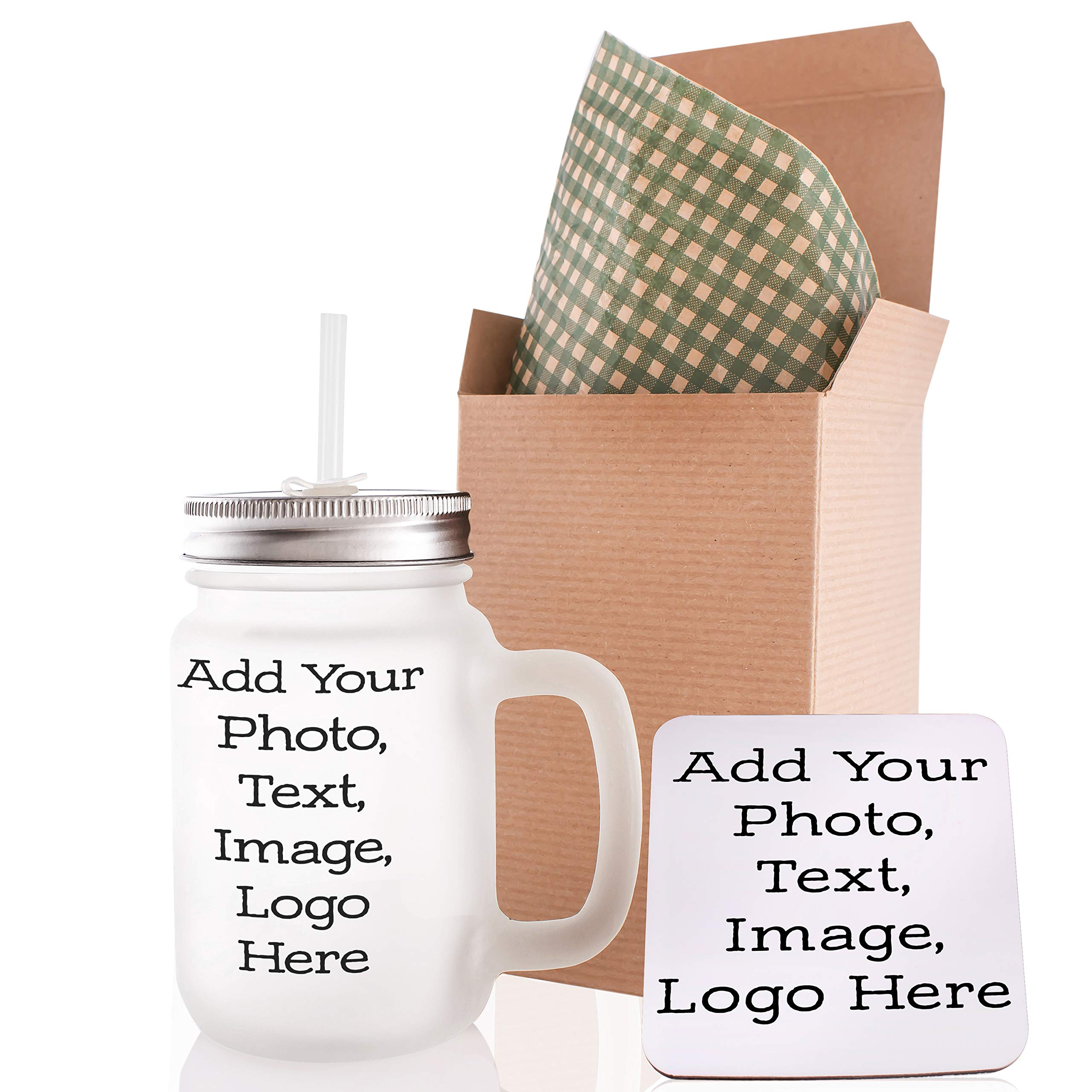 Customizable Mason Jar with Your Custom Picture, Photo and Text - Personalized 12oz Mason Jar with Lid and Straw - Create Your Own Design