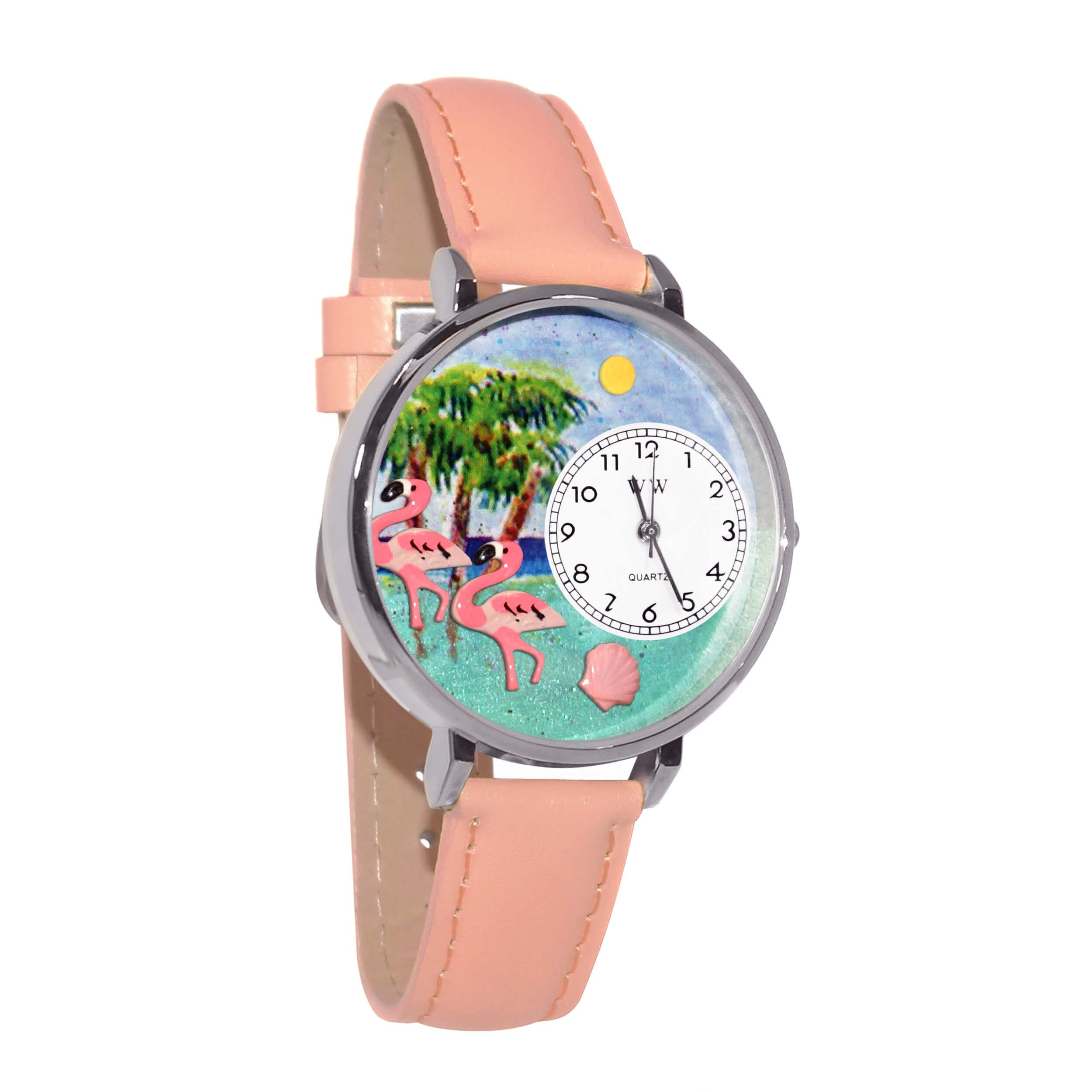 Whimsical Watches Unisex U0150001 Flamingo Pink Leather Watch