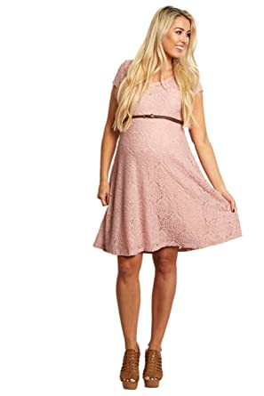 60f7e56a3f Image Unavailable. Image not available for. Color  PinkBlush Maternity Pink  Lace Belted Maternity Dress ...