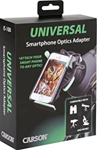 Carson Universal Smart Phone Optics Digiscoping Adapter for Binoculars Spotting Scopes Monoculars Telescopes Microscopes and More (IS-100)