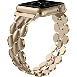 Moolia Compatible with Apple Watch Band 38mm 40mm Metal Fashion Women Replacement Strap Bracelet for iWatch Series 5 4 3 2 1 Champagne