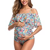 Women Off-Shoulder Maternity Swimsuits Flounce Floral One Piece Bathing Suits