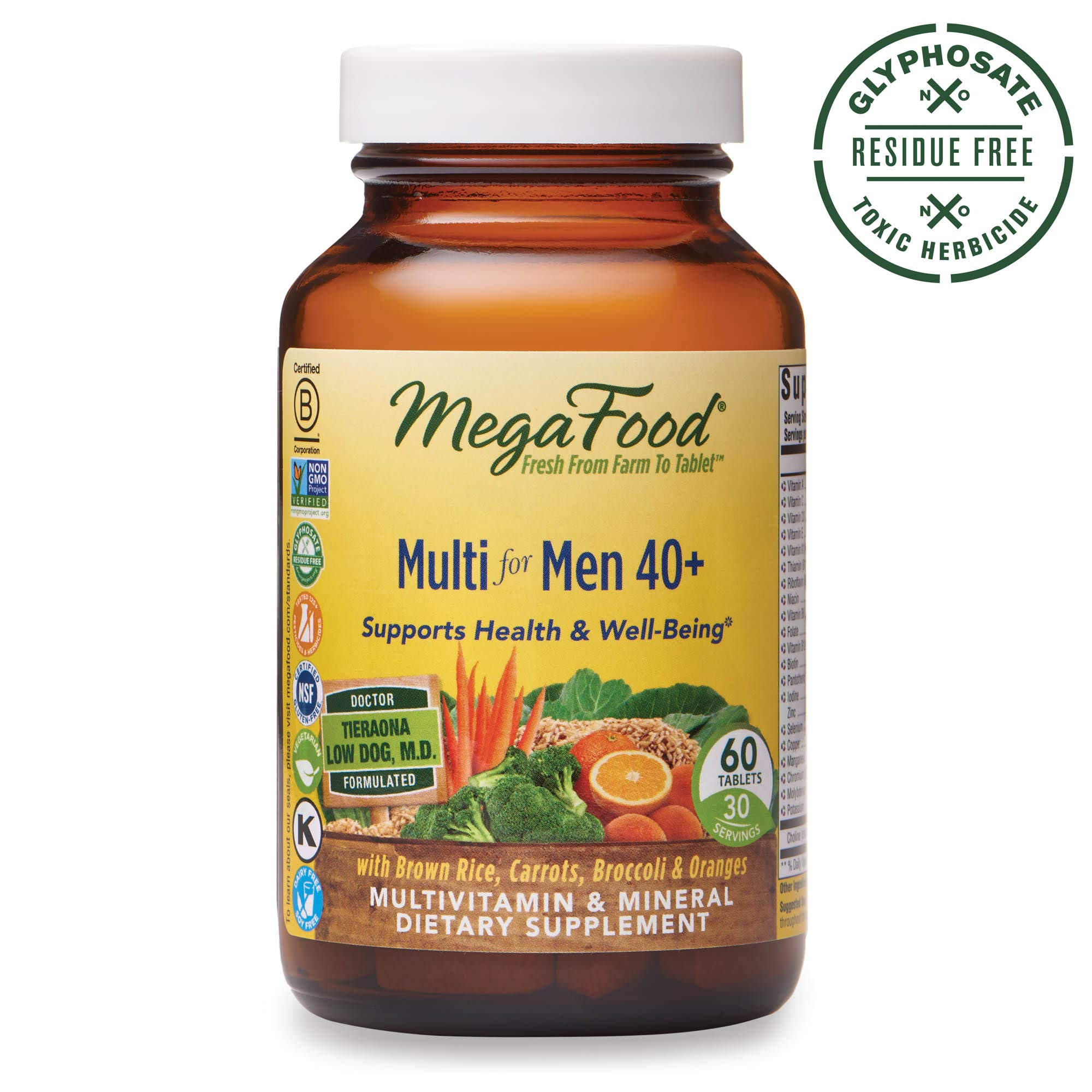 MegaFood, Multi for Men 40+, Supports Optimal Health and Wellbeing, Multivitamin and Mineral Supplement, Gluten Free, Vegetarian, 60 Tablets (30 Servings) by MegaFood