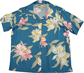 product image for Paradise Found Women's Orchid Corsage Palm Aloha Shirt, Blue, S