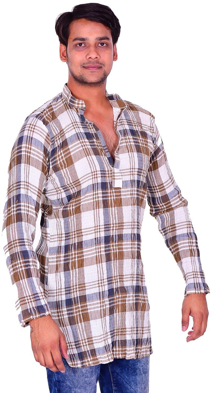 Lakkar Haveli Indian 100/% Cotton Men/'s Loose Fit Shirt Kurta Check Print Brown Color