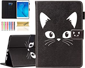 "Dteck Universal 7.0 Inch Tablet Case - Pretty Flip Leather Wallet Protective Slim Case Cover with Adjustable Viewing Stand for MatrixPad Z1 /Acer Iconia/Huawei/Lenovo/Asus 7"" Tablet (Black Cat)"