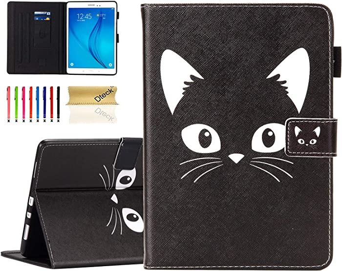 "Dteck Universal Case for 9.5-10.5 Inch Tablet - Slim Stand Flip Universal Tablet Case Protective Cover for for Samsung/Asus/Lenovo/Acer/Huawei/Sony/iPad 9.4"" 9.6"" 9.7"" 10.1"" 10.2"" Tablet (Black Cat)"
