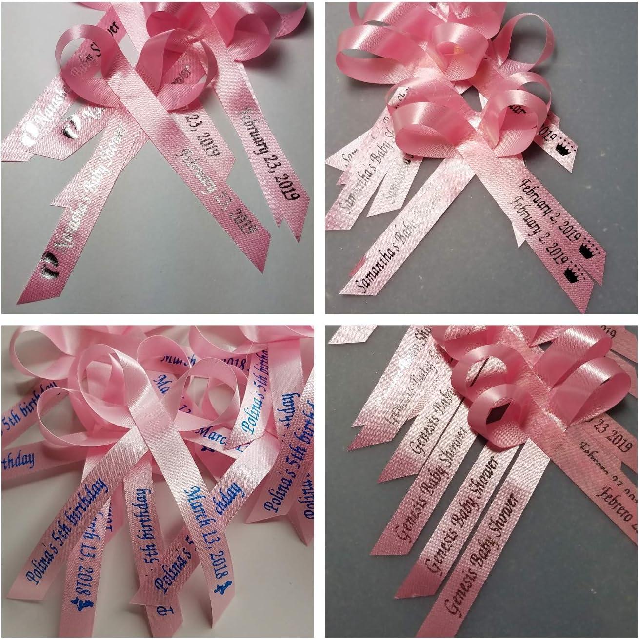"225 Personalized Ribbon 1//4/"" 3//8/"" Wedding Birthday Baptism Baby Shower Favors"