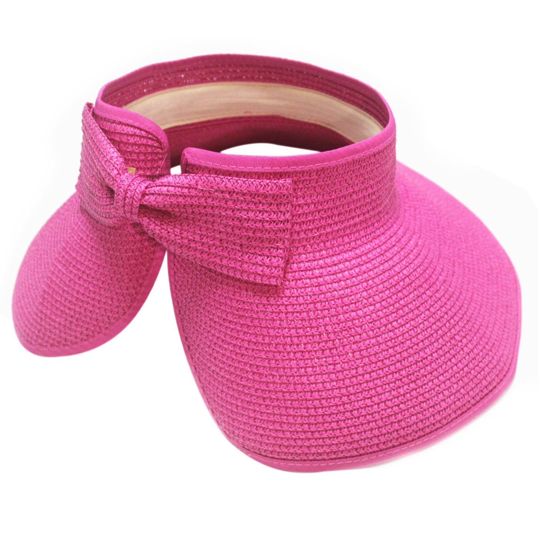 ToJoy Girl Lady Beach Sun Visor Foldable Roll Up Wide Brim Straw Hat Cap (hot pink)