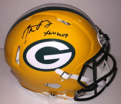 ffd82af04 Image Unavailable. Image not available for. Color  Aaron Rodgers Autographed  Green Bay Packers Proline Authentic Speed Helmet ...