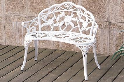 White Patio Garden Outdoor Bench Cast Aluminum Iron Garden Yard Solid  Construction