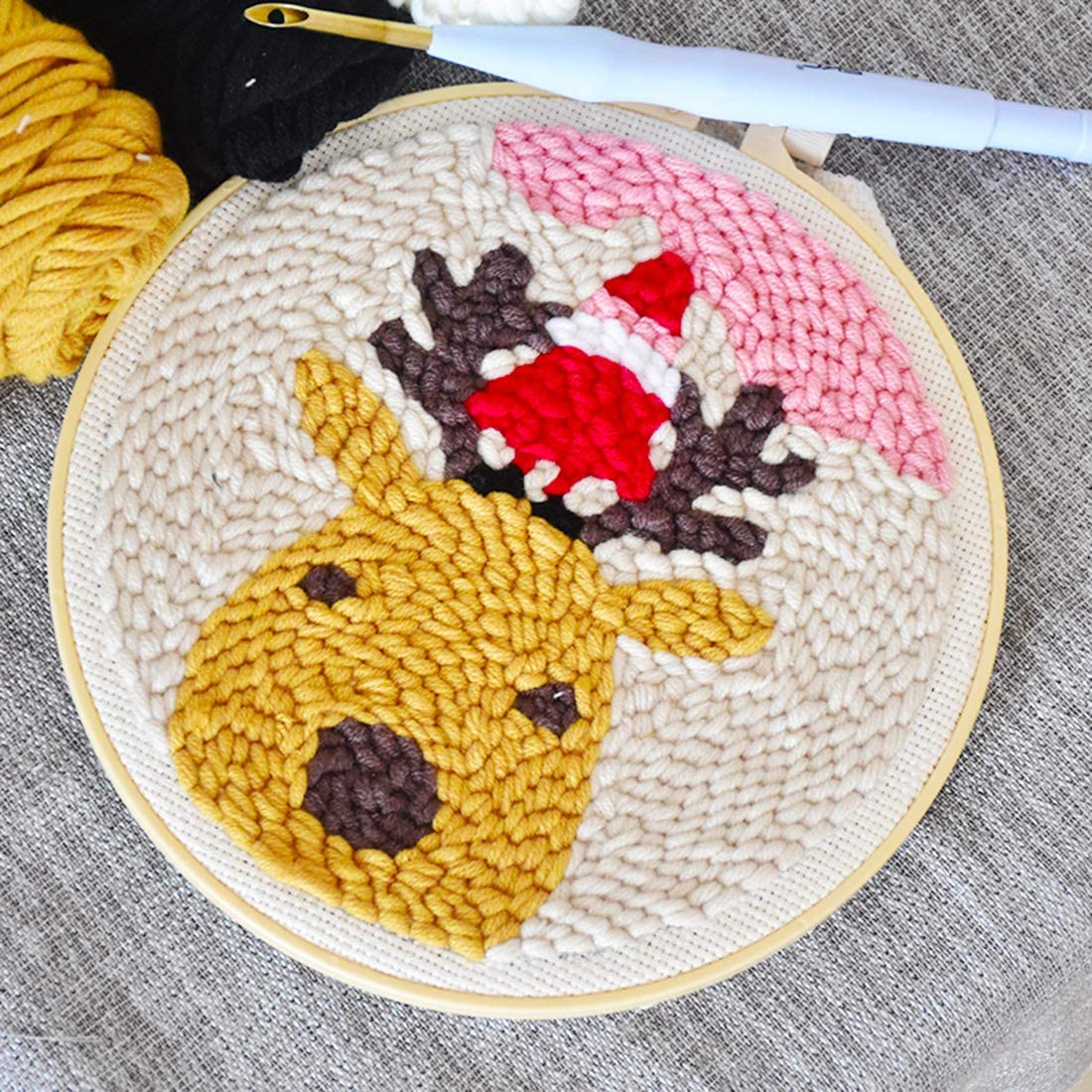 Yamix Punch Needle Starter Kit Christmas Theme DIY Handcraft Embroidery Knitting Rug Punch Beginner Kit Latch Hook Kits with Punch Needle Colorful Yarn and Frame Cute Fawn