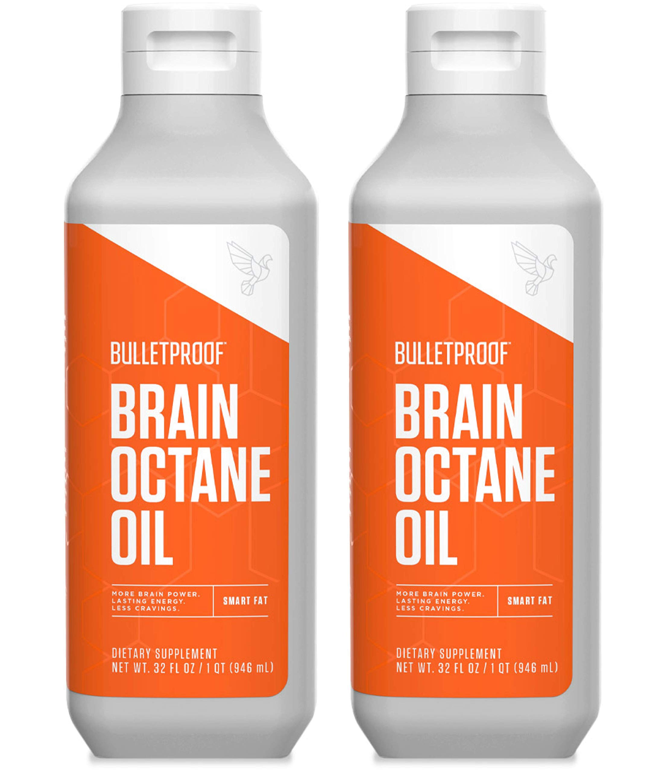 Bulletproof Brain Octane MCT Oil, Perfect for Keto and Paleo Diet, 100% Non-GMO Premium C8 Oil, Ketogenic Friendly, Responsibly Sourced from Coconuts Only, Made in the USA (2pack of 32oz) by Bulletproof