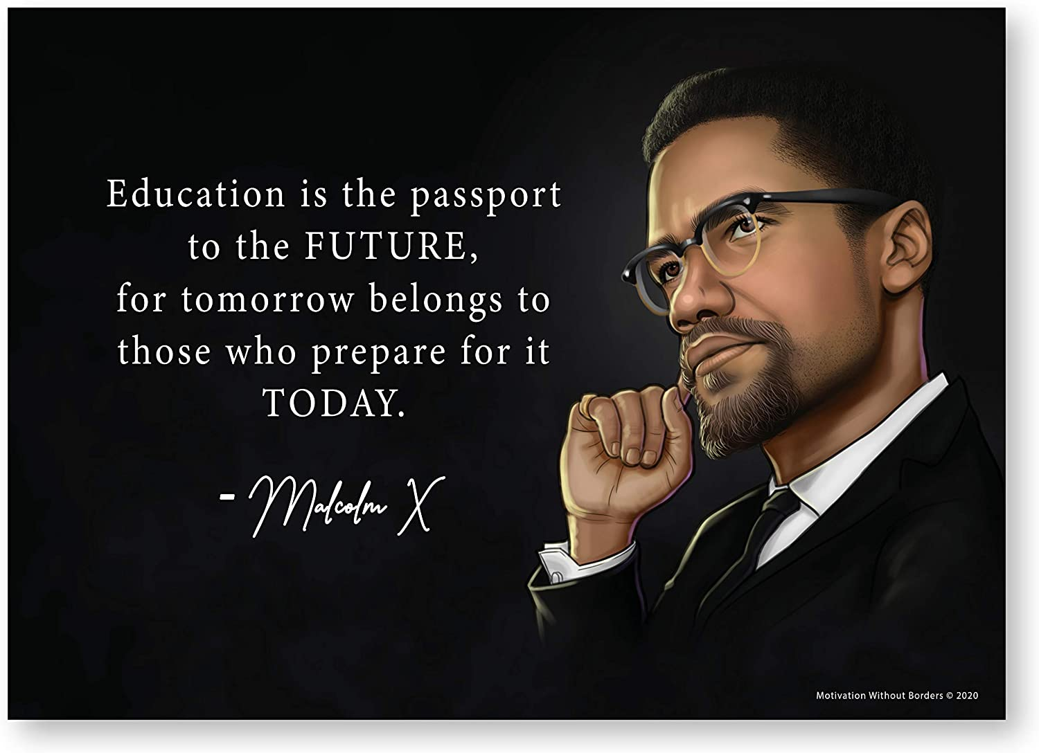 Malcolm X Poster (Black History Posters 13x18 Non Laminated) Social Justice Civil Rights Posters (1 Poster Included)
