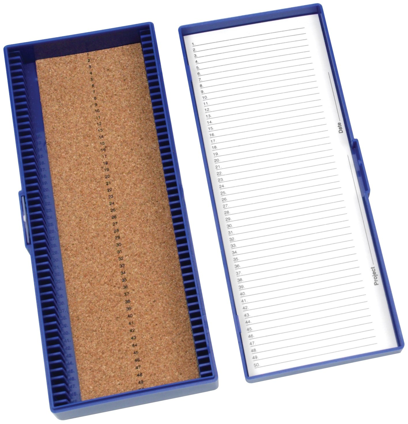 Heathrow Scientific HD15996A Blue Cork Lined 50 Place Microscope Slide Box, 8.3 Length x 3.38 Width x 1.25 Height HS15996A